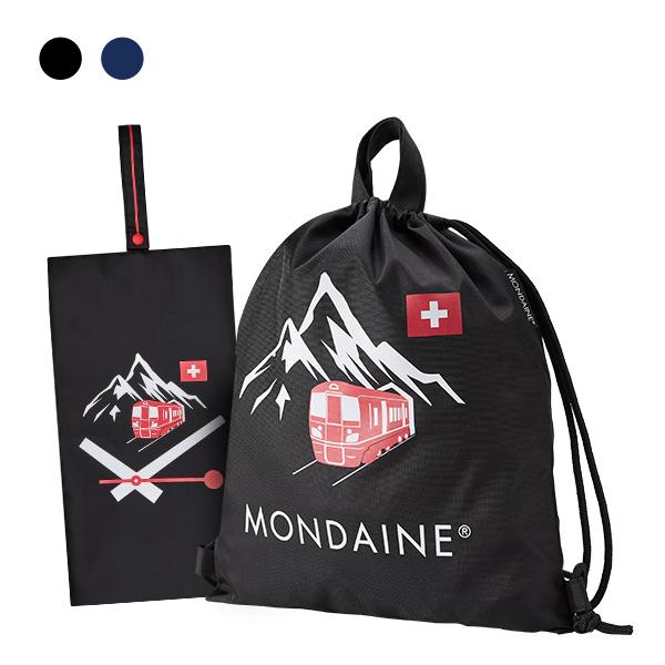 MONDAINE 瑞士國鐵束口後背包-黑/藍 + 雪山火車鞋袋-黑/藍
