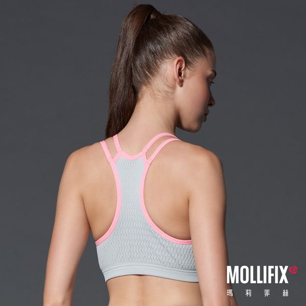 Mollifix瑪莉菲絲 高調A++動塑升級撞色運動BRA (好動淡灰)