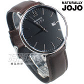 NATURALLY JOJO 羅馬城市對錶 真皮錶帶 防水手錶 黑x咖啡 男錶 JO96938-88M