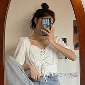 年新款心機泡泡袖短袖白色襯衫女設計感小眾短款法式方領上衣 夏季新品