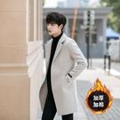 秋冬季韓版修身中長款風衣外套男冬季加棉加厚毛大《蓓娜衣都》