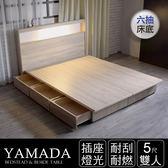 IHouse-山田 日式插座燈光房間二件組(床頭+收納床底)-雙人5尺胡桃