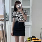 奶牛泡泡袖雪紡襯衫女當下夏季新款韓版方領修身短款百搭短袖上衣 happybee