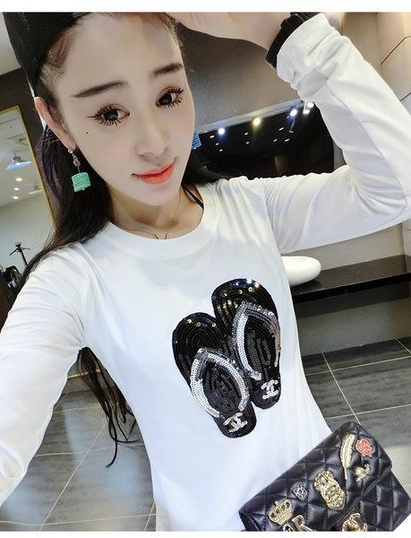 *魔法之城*F14908大碼女裝亮片白色體恤修身圓領純棉長袖薄T恤