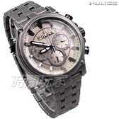 POLICE 義大利精品 個性潮流 仿舊 三眼多功能 男錶 不銹鋼 防水 手錶 IP黑電鍍 15920JSQU-20M