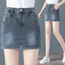 短裙 高腰牛仔短褲裙子女2021夏季新款百搭包臀防走光假兩件A字半身裙