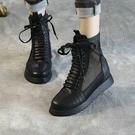2020夏季新款純手工網紗透氣系帶高幫涼靴女真軟皮厚底羅馬涼鞋女 快速出貨
