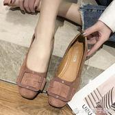 網紅粗跟小單鞋女2019春季新款韓版淺口中跟方頭休閒百搭方扣女鞋      橙子精品