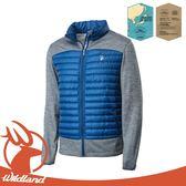 【Wildland 荒野 男 彈性針織拼接羽絨外套《深藍》】OA62992/羽絨衣/連帽羽絨衣/夾克