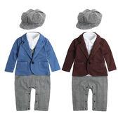 長袖連身衣 假四件 紳士造型 連身衣 爬衣 爬服 哈衣 小紳士 小花童 附帽子 82048
