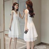無袖洋裝2019新款韓版蕾絲連身裙女夏裝中長款背心裙修身白色無袖a字裙子 【5月驚喜】