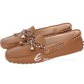 TOD'S Gommino 撞色綁帶豆豆休閒鞋(棕色) 1730312-B3