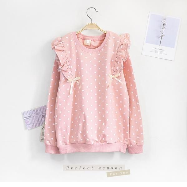 小童 純棉 甜美點點蝴蝶結花邊長袖上衣 女童上衣 秋冬 粉色 日系 女童裝 童裝 女童長袖