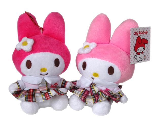 【卡漫城】 美樂蒂 玩偶 格子衣 16cm 兩隻一組 ㊣版 My Melody 絨毛娃娃 擺飾 佈置 迷你 吊飾