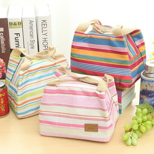 【發現。好貨】五色條紋加厚便當保溫袋便當包 保溫飯盒包飯盒袋冰包母奶袋保溫保冰