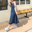 牛仔吊帶裙女學生寬鬆顯瘦減齡連身裙子新款...