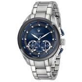 【台南 時代鐘錶 MASERATI】台灣公司貨 瑪莎拉蒂 Traguardo系列 R8873612014 三眼計時腕錶 藍/銀