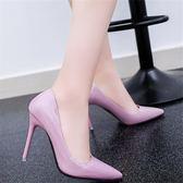 高跟鞋女細跟尖頭淺口粉色性感黑色職業工作單鞋可然 鞋櫃
