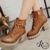 個性時尚綁帶造型厚底高跟短靴/3色/35-39碼 (RX0028-016) iRurus 路絲時尚