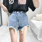 高腰毛邊不規則短褲女學生韓版寬鬆顯瘦牛仔褲褲子女    琉璃美衣