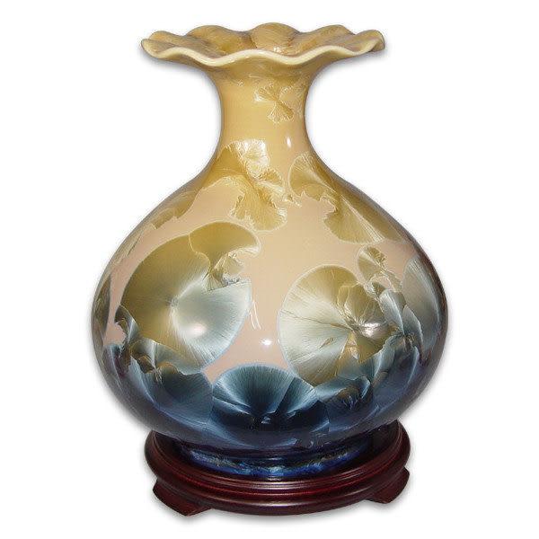 鹿港窯~居家開運結晶釉花瓶~10英吋黃金布袋瓶;購物清單:1件