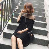 洋裝中大尺碼連身裙M-4XL網紗拼接黑色短袖雪紡連衣裙女夏季韓版氣質顯瘦A字小黑裙.4F039.1號公館