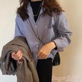 長袖襯衫秋款2020新款韓版寬鬆長袖條紋襯衫女學生設計感小眾復古襯衣上衣 店長推薦