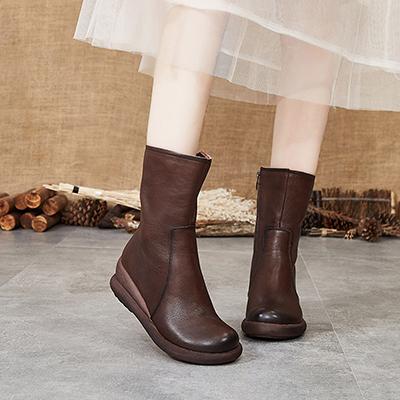 真皮中筒靴 民族風馬丁靴 繡花高跟騎士靴/2色-標準碼-夢想家-0916