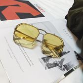 復古紅色不規則翻蓋太陽眼鏡 大框墨鏡男女新年下殺