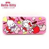 Hello Kitty 凱蒂貓雙層鉛筆盒三麗鷗  品文書收納文具小學生文具筆盒【狐狸跑跑】
