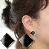 Quenby 簡約風 鈦鋼黑色波浪形耳環/耳針