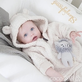 熱賣嬰兒羊羔毛外套 爆款羊羔毛絨寶寶秋冬小外套嬰兒加絨保暖冬季連帽小童上衣潮 coco