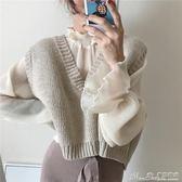聖誕禮物針織馬甲春季女裝韓版風復古氣質寬鬆百搭短款大V領無袖針織背心馬甲 曼莎時尚