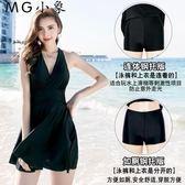 泳衣 顯瘦遮肚性感韓國連體裙式泳裝