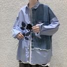 網紅襯衫男痞帥INS秋冬季外套韓版潮流帥氣拼接牛仔襯衣設計感長袖