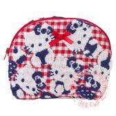 KITTY立體織花化妝包 收納包(紅白格紋)388105【玩之內】日本進口