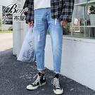牛仔褲 刷破靴型褲九分褲小腳褲【NLCF-M316】