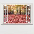 DIY組合壁貼 無痕壁貼 客廳臥室店面假窗壁貼 秋天落葉楓葉森林窗景壁貼 假窗紅樹林《Life Beauty》