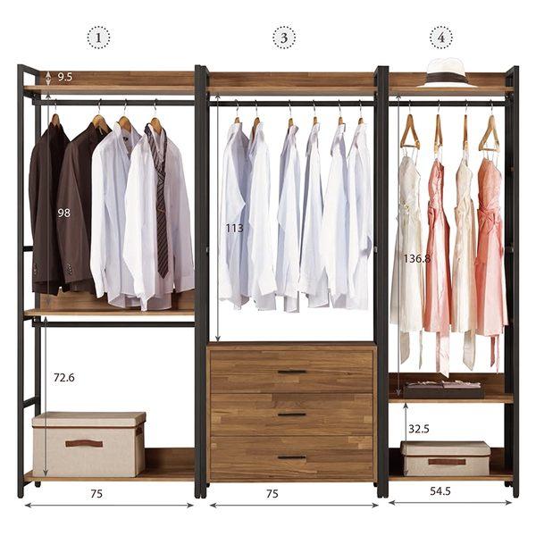 【森可家居】漢諾瓦7.2尺組合衣櫥 (編號1.3.4) 8CM573-7 開放式衣櫃 工業風 木紋質感