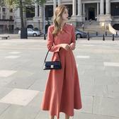 出清388 韓國風復古素色交叉領結優雅長版長袖洋裝