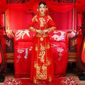 服新娘禮服薄款2018新款嫁衣中式婚紗禮服古裝敬酒服唐裝igo 晴天時尚館