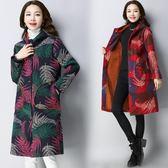 冬季新款復古中長款民族風印花中年媽媽裝寬鬆外套棉衣女洋裝 週年慶降價