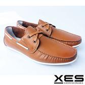 XES 男鞋 生活休閒 雅痞型男 擦色 水波紋底 帆船便鞋 百搭駝