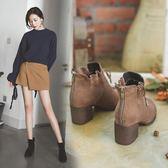 秋冬季馬丁靴女英倫網紅風粗跟瘦瘦靴短筒小短靴 迪澳安娜
