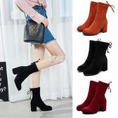 女式靴子 新款女靴中筒靴中粗跟彈力短靴羊反絨馬丁靴女鞋踝靴 俏腳丫