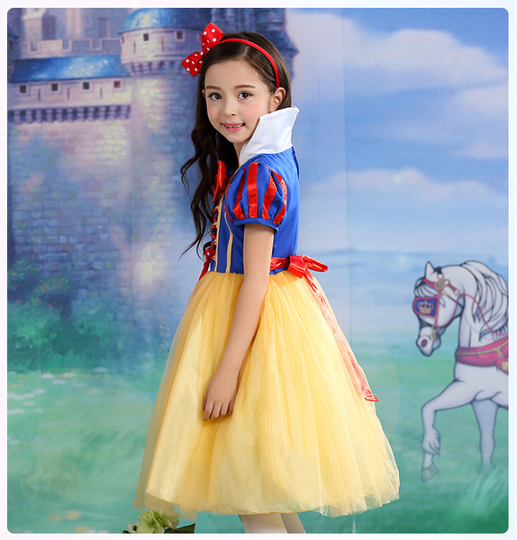 萬聖節服裝 現貨白雪公主服洋裝禮服 兒童造型服藍灰姑娘萬聖節服裝聖誕節舞會派對服裝表演