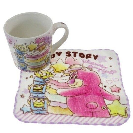 小禮堂 迪士尼 玩具總動員 陶瓷馬克杯 附方巾 咖啡杯 茶杯 手帕 (紫 甜點) 4548626-13099