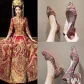 粗跟高跟鞋婚鞋女2019新款之中式結婚鞋孕婦秀禾服高跟鞋大紅色結新娘鞋 PA8063『紅袖伊人』