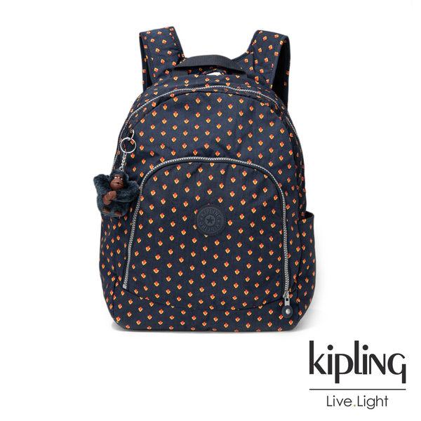 Kipling紅黃幾何印花前拉鍊後背包