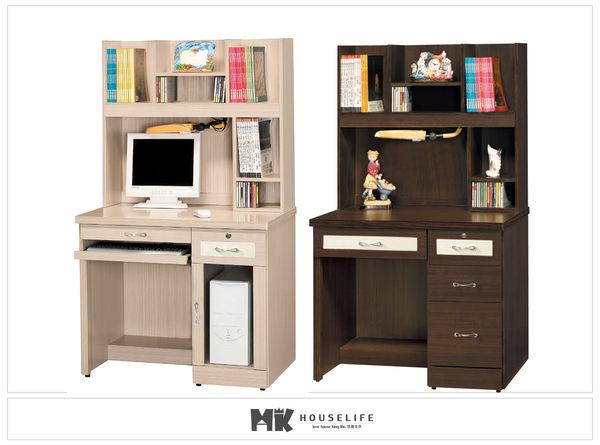 【MK億騰傢俱】ES633-6G艾嫚妮白橡/胡桃3.2尺電腦桌組
